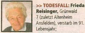 Zpráva o jejím úmrtí ve starobinci v Ansfelden roku 2015 v nedožitých 91 letech věku