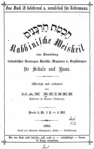 Titulní list jeho knihy (1885)