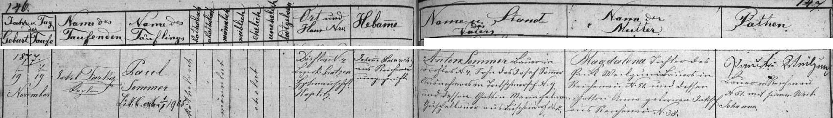 Záznam o narození Paula Sommera ve Vescích (Dörfles) čp. 4 v žumberské křestní matrice