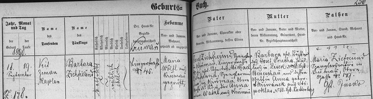 Záznam o narození Barbary Klufové, roz. Ziefreundové, v českokrumlovské matrice