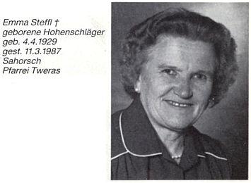 Emma Stefflová, roz. Hohenschlägerová s ním spolupracovala v rodáckém zpravodaji a byla i kmotrou farní korouhve