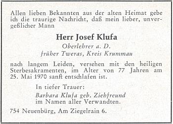 Parte pana řídícího Klufy, podepsaná jeho ženou, na stránkách krajanského měsíčníku