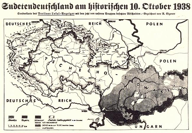 """Mapka k """"historickému"""" 10. říjnu 1938 v německém deníku """"Berliner Lokal-Anzeiger"""""""