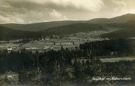 Nové Údolí s Hochsteinem na pohlednici Josefa Seidela