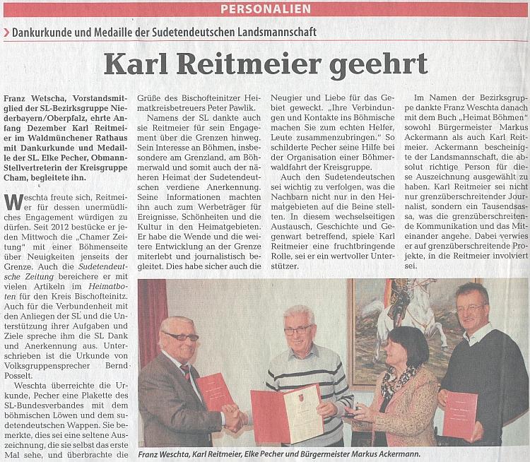 V prosinci roku 2018 byl na radnici města Waldmünchen vyznamenán děkovnou listinou a medailí Sudetoněmeckého krajanského sdružení