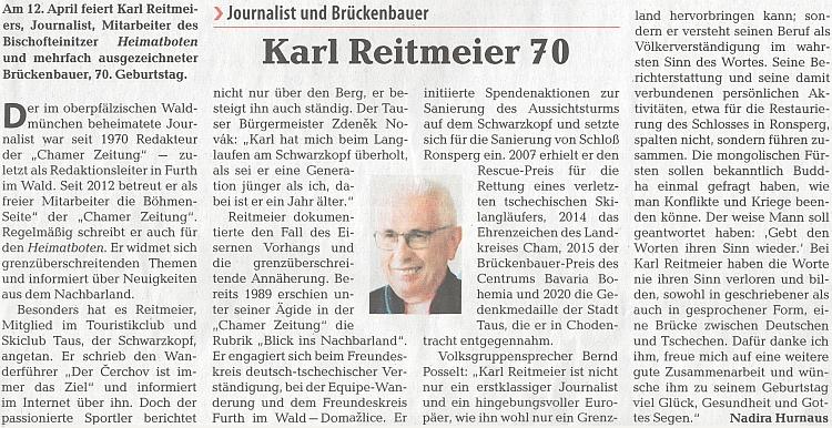 Pozdrav k jeho sedmdesátinám na stránkách ústředního krajanského listu