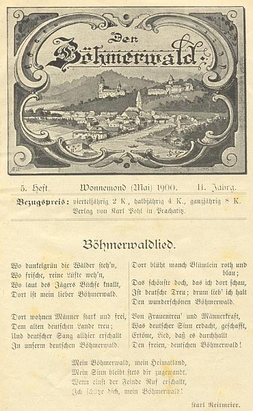 """Jeho báseň tu uvádí jedno z čísel časopisu """"Der Böhmerwald"""""""