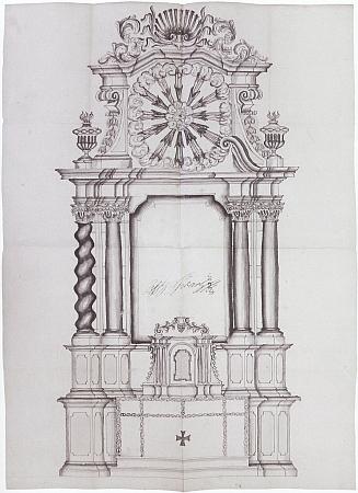 Variantní aprobovaný návrh pro zámeckou kapli ve Vimperku na kresbě českokrumlovského dvorního truhláře Josefa Širokého (1693-1753) zroku1794
