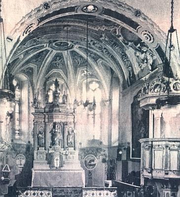 """Kněžiště poběžovického kostela a epitaf Dobrohosta """"von Ramsperg"""""""