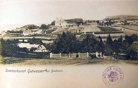 """Stará pohlednice z """"letoviska Dobrá Voda u Budějovic"""""""