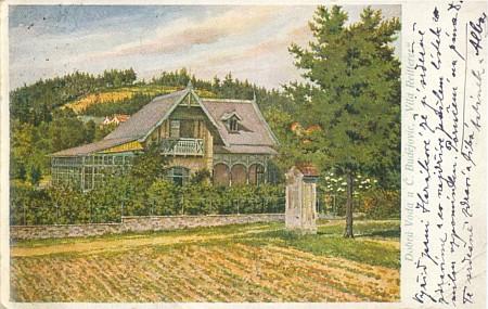 Reittererova vila v Dobré Vodě u Českých Budějovic na pohlednici kolem roku 1900...