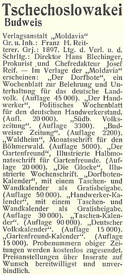 """Takto byla prezentována vmeziválečném """"Lexikonu německých nakladatelství"""" českobudějovická Reittererova firma """"Moldavia"""""""