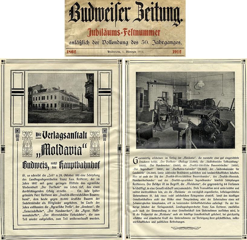 """V jubilejním čísle Budweiser Zeitung se v roce 1912 objevily i tyto snímky později spojeneckým bombardováním na konci druhé světové války porušené budovy nakladatelství """"Moldavia"""" s připojeným výčtem dalších Reittererových aktivit"""