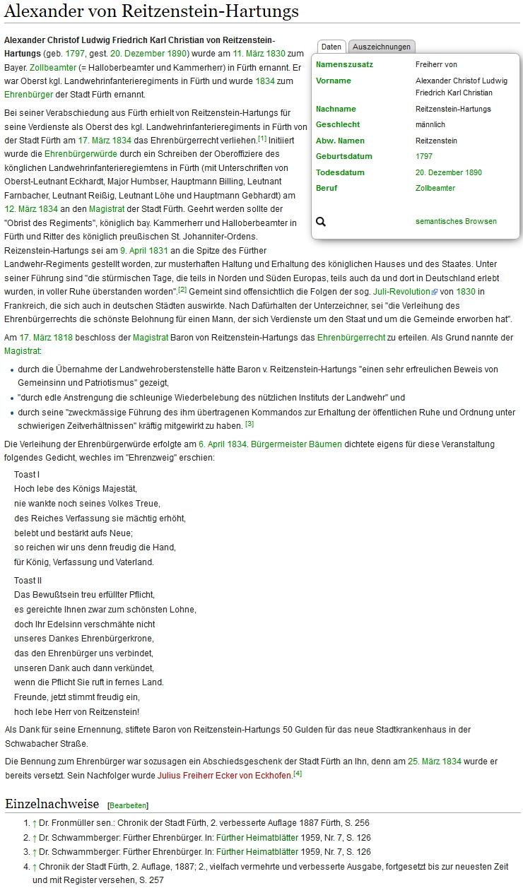 O něm na stránkách online encyklopedie města Fürth