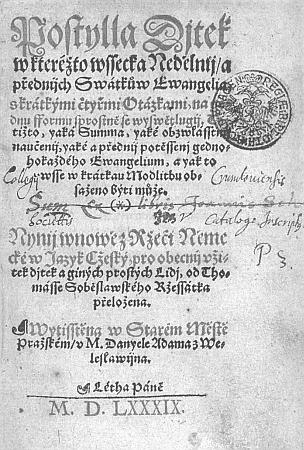 Titulní list (1589) Postily dítek