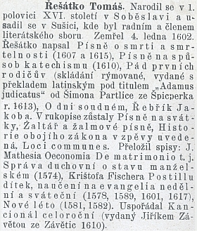 O něm na konci prvého dílu knihy Spisovatelé kraje táborského (1902) od Františka Dušana Zenkla