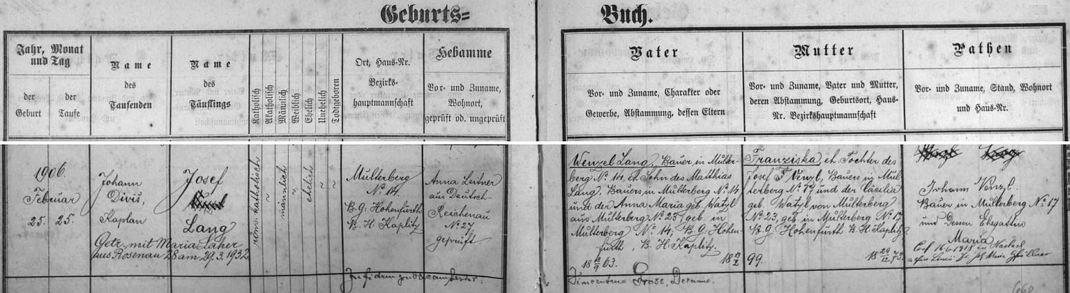 Záznam rychnůvecké křestní matriky o narození matčina otce Josefa Langa s pozdějším přípisem o jeho svatbě