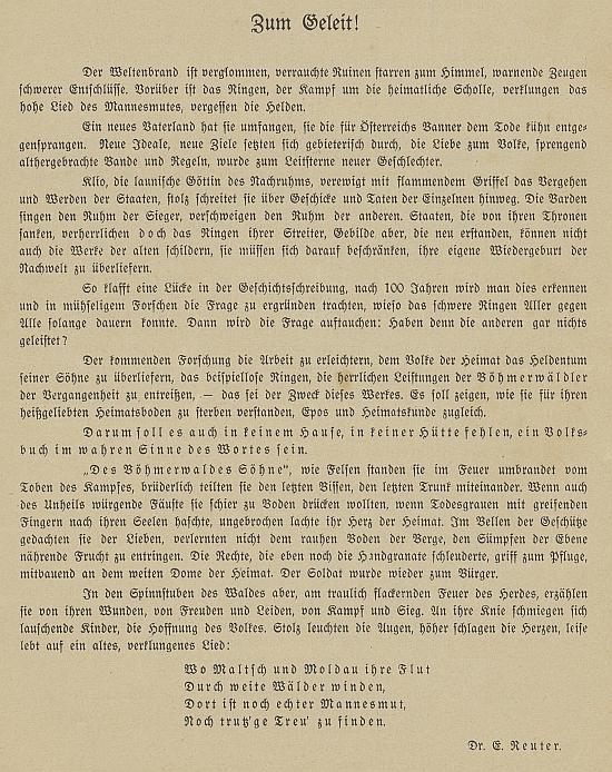 Obálka a originál jeho textu v prvním čísle časopisu o Šumavanech na bojištích 1. světové války