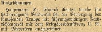 Poslední zmínka o něm v českobudějovickém německém listu - zpráva o jeho vyznamenání Záslužným válečným křížem II. třídy vúnoru 1944