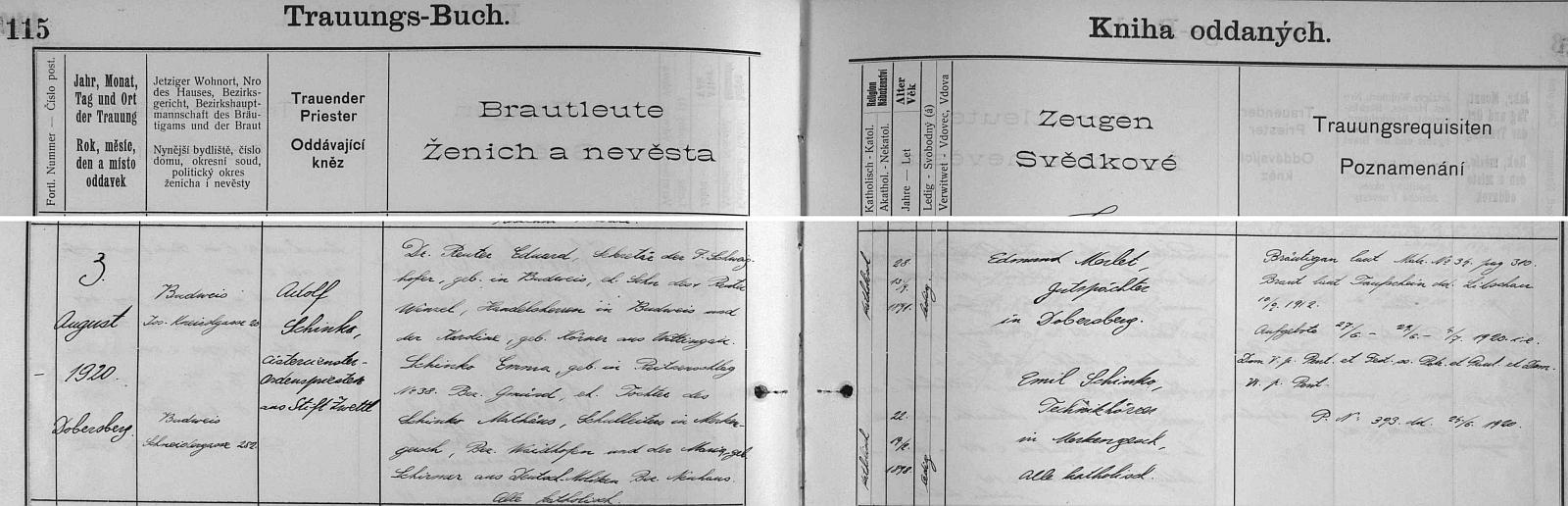 Záznam o jeho svatbě českobudějovické kize oddaných
