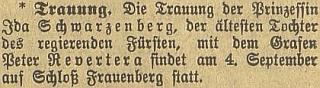 Zpráva o jeho svatbě s nejstarší dcerou panujícího knížete Schwarzenberga princeznou Idou dne 4. září válečného roku 1917 na zámku v Hluboké nad Vltavou
