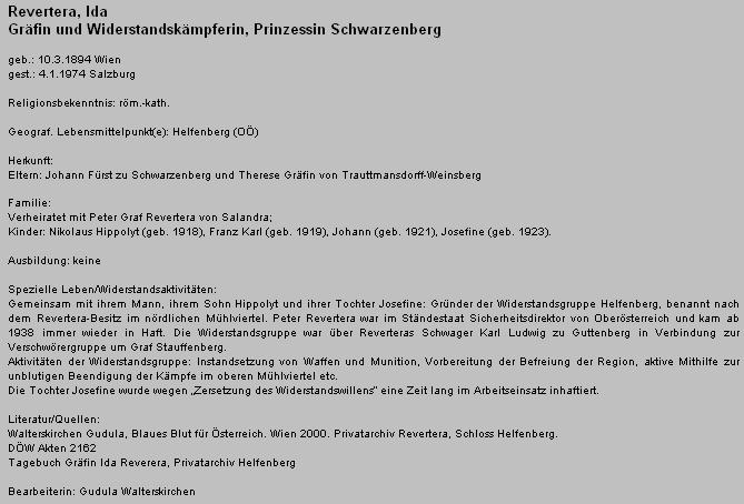 Záznam o jeho ženě v rámci projektu o rakouských příslušnicích protinacistického odboje