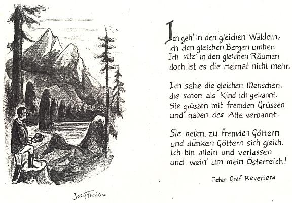 Jeho báseň v přepisu a s kresbou staroříšského Josefa Floriana