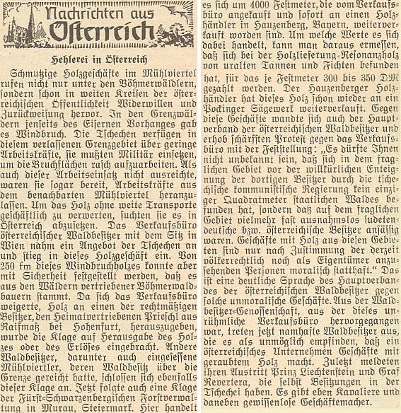 Jeho jméno se objevuje i v textu na stránkách krajanského časopisu o protestech, které v Rakousku vyvolal československý zájem o rakouské lesní dělníky na těžbu polomů a prodej šumavského dřeva z vyvlastněných lesů za devizy na západ