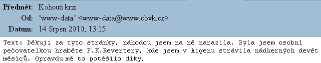 I takový dopis ze srpna roku 2010 dává smysl těmto stránkám