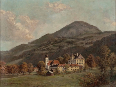 Zámek a kostel v Aigenu na obraze Franze Kulstrunka z roku 1943