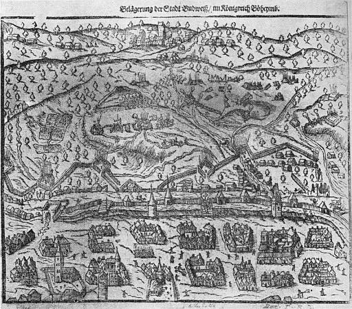 Obléhání Českých Budějovic stavovským vojskem roku 1619 na soudobé rytině