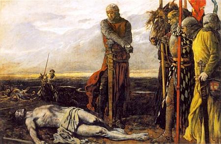 Rudolf Habsburský nad mrtvým tělem Přemysla Otakara II. naolejomalbě Carla Ludwiga Hassmanna z roku 1923