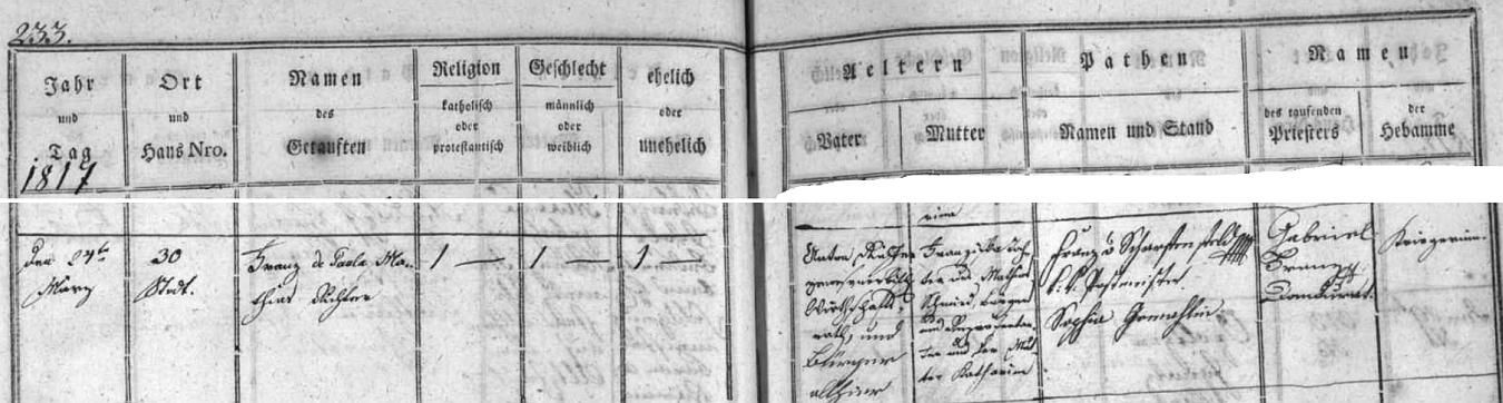 """... a záznam budějovické křestní matriky o jeho narození dne 24. března roku 1817 v rodině hospodářského rady Antona Richtera a jeho ženy Franzisky, dcery Mathiase Schmieda, zdejšího měšťana a """"Repräsentanta"""", tj. zastupitele, a jeho ženy Kathariny - chlapec byl pokřtěn jménem Franz de Paula Mathias Richter"""