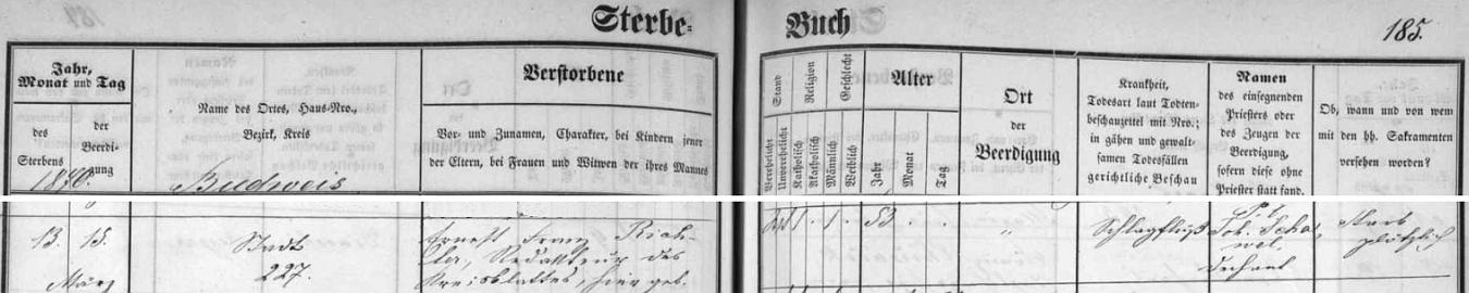 """Podle zápisu v knize zemřelých skonal 13. března 1870 a byl dva dny na to pochován na staroměstském hřbitově - mrtvice byla označena za příčinu """"náhlého skonu"""", který znemožnil svátostné zaopatření zesnulého"""