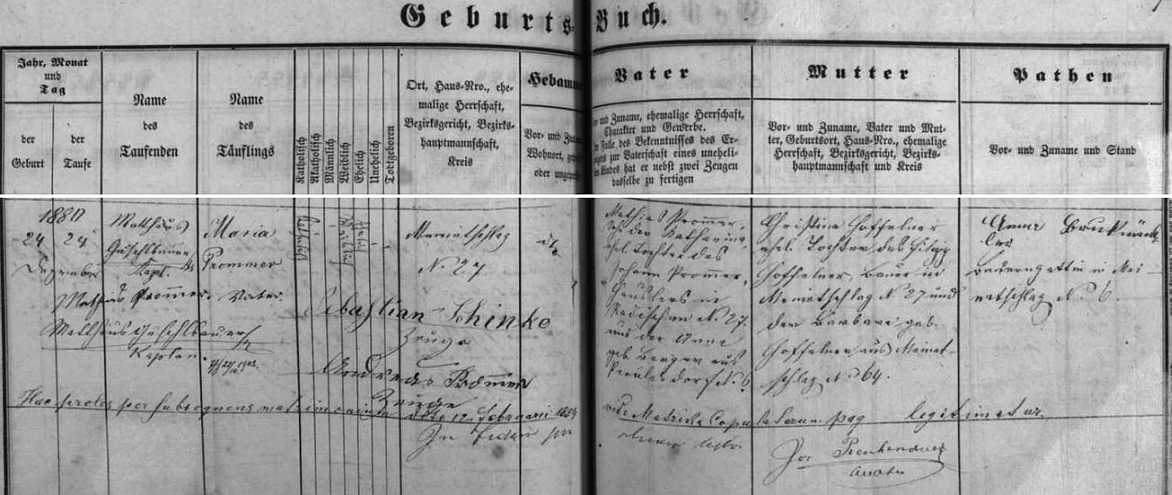 Záznam malonstské křestní matriky o narození jeho druhé ženy