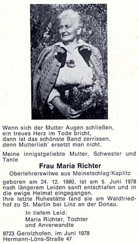 Parte a nekrolog jeho druhé ženy Marie, která ho přežila o téměř 61 let