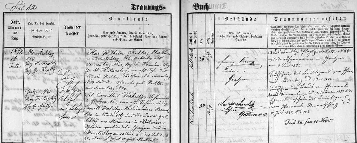"""Záznam z """"matriky oddaných"""" o jeho svatbě v Nových Hradech dne 16. července 1892 s novohradskou učitelkou Camillou roz. Vierheiligovou, dcerou Camilla Vierheiliga, správce """"říšského panství"""" v Pardubicích a Anny, roz.Lehké, z Moravan v Čechách - ženichův otec Eduard Richter byl obchodníkem v Suniperku a ženichova matka Theresie byla irodným příjmením Richterová ze Suniperku"""