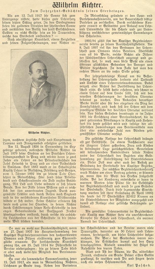 K 10. výročí jeho úmrtí napsal Karl Paschek do českobudějovického německého časopisu tento Richterův životopis