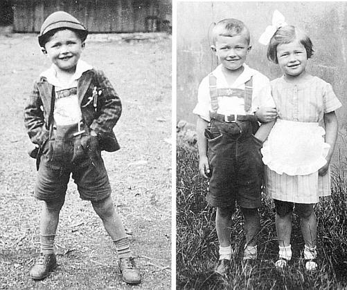 Dva snímky z dětských let, ten vpravo se sestrou gerti: jemu bylo 5, jí 4 roky