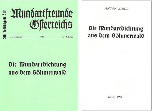 Obálka a titulní list jeho práce o šumavské nářeční poezii vydané Mundartfreunde Österreichs ve Vídni (1981)