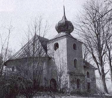 Kostel Panny Marie v Třemešném před demolicí v roce 1982