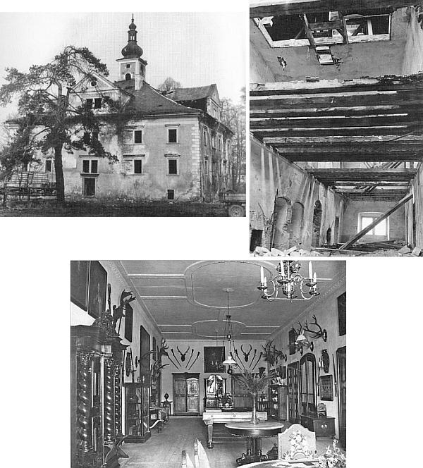 Zámek v Újezdě Svatého Kříže na snímku z února roku 1977, stav interiéru před likvidací a stav haly v jeho prvém patře kdysi dávno
