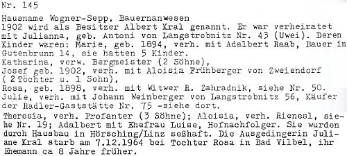 Pocházela z domu čp. 145 v Horní Stropnici, jehož majitelem byl Adalbert (Albert) Kral se svou ženou Julianou, roz. Antoniovou z Dlouhé Stropnice, a kde se narodili i dva jeho synové Josef a Adalbert a dcery Marie , Katharina, Rosa, Julie, Theresia a Aloisia (Luise)
