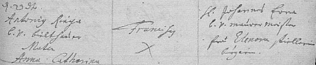 Záznam brněnské matriky o jeho narození a křtu den nato u sv. Jakuba jménem Franciscus - rodiči byli Antonius Riga a jeho manželka  Anna Catharina