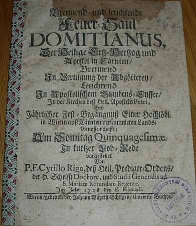 Titulní list (1728) vídeňského tisku o patronovi Korutan sv.Domiciánovi svědčí o Rigově autorství