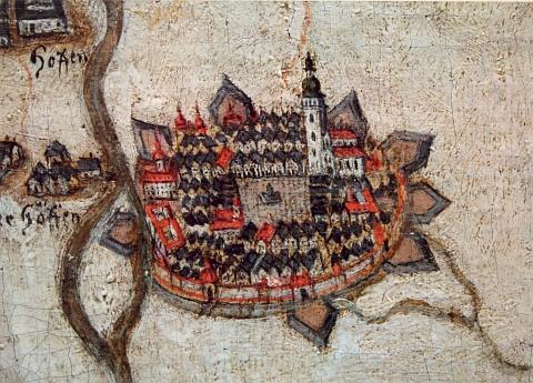 Vyobrazení města České Budějovice na rukopisné mapě hlubockého panství z prvé půle 18. století s výrazným zachycením dominikánského kláštera při říčním rameni nad soutokem Vltavy a Malše