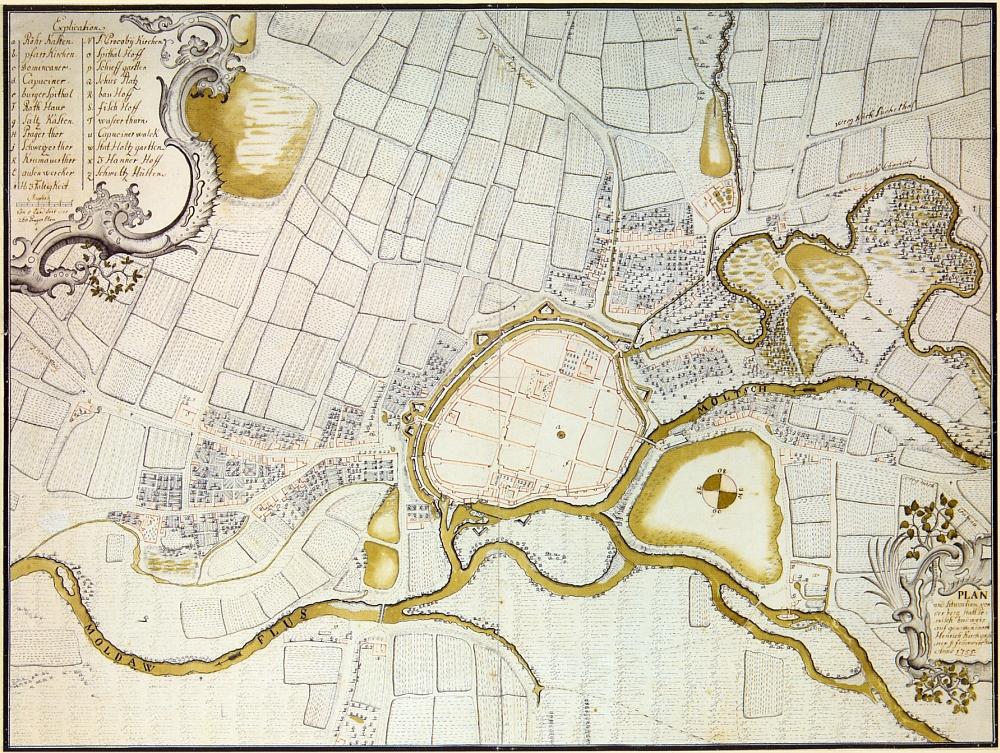 Plán Českých Budějovic a nejbližšího okolí z roku 1799, jehož autorem je Heinrich Kirchgassner