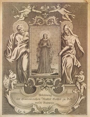 Mědiryt s vyobrazením Panny Marie Budějovické zdruhé poloviny 18. století
