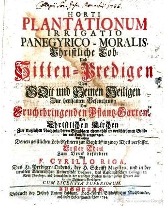 Titulní list sbírky jeho kázání, která vyšla vAugšpurku roku 1754. tedy čtyři léta před jeho smrtí v Brně