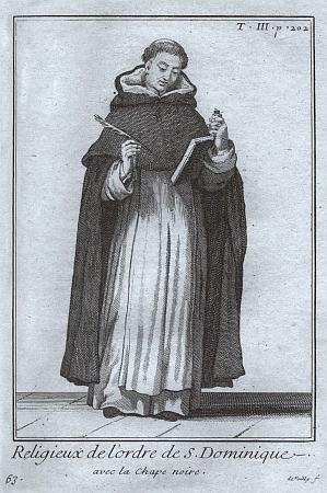 Řádový oděv dominikánů, sestávající z bílé tuniky ačerného pláště skapucí na cesty mimo dům a v zimě dochóru